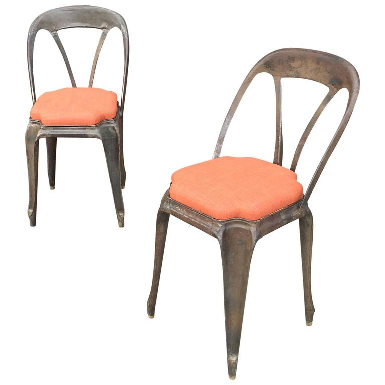 Pair Of Brushed Steel Tolix Café Chairs Upholstered Seats