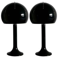 Pair of Italian Ceramic Table Lamps with Swarovski Crystals