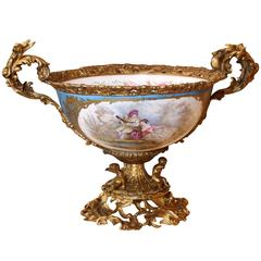 Large Sevres Style Centrepiece Bowl with Bronze Dore Mounts / Celeste Blue