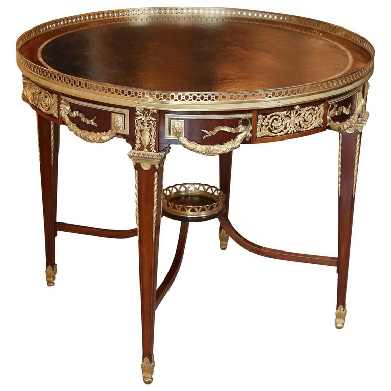 Louis XVI French Style Round Center Table With Leather Top / Bronze Doré  Mounts For Sale
