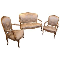 19th Century Gilt Wood Settee and Two-Arm Chairs, Louis XV Style