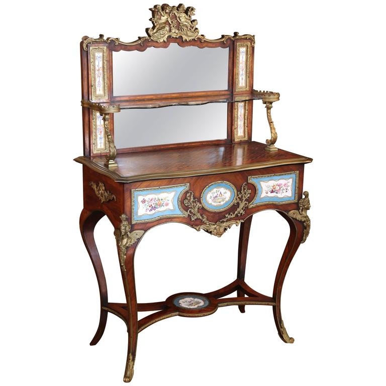 Antique French Louis XV Vanity Table with Gilt Bronze Mounts/Porcelain  Cameos For Sale - Antique French Louis XV Vanity Table With Gilt Bronze Mounts