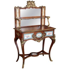 Antique French Louis XV Vanity Table with Gilt Bronze Mounts/Porcelain Cameos