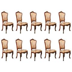 Set of Ten French Louis XV Style Dining Chairs with Ormolu Mounts