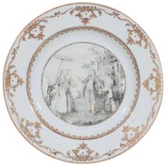 Chinese Export Porcelain Dish with Grisaille Decoration
