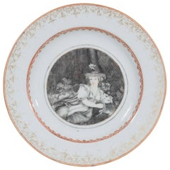 Qianlong Reign Chinese Export Dish European Scene Showing a Shepherdess ca. 1740