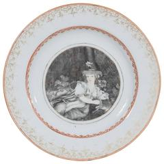 Chinese Export Dish with a European Scene Showing a Shepherdess