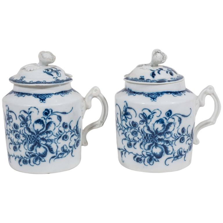 Pair Blue and White Porcelain English Antique  Mustard Pots