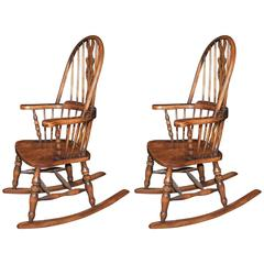 Hand-Carved English Windsor Rocking Chair Farmhouse Chairs