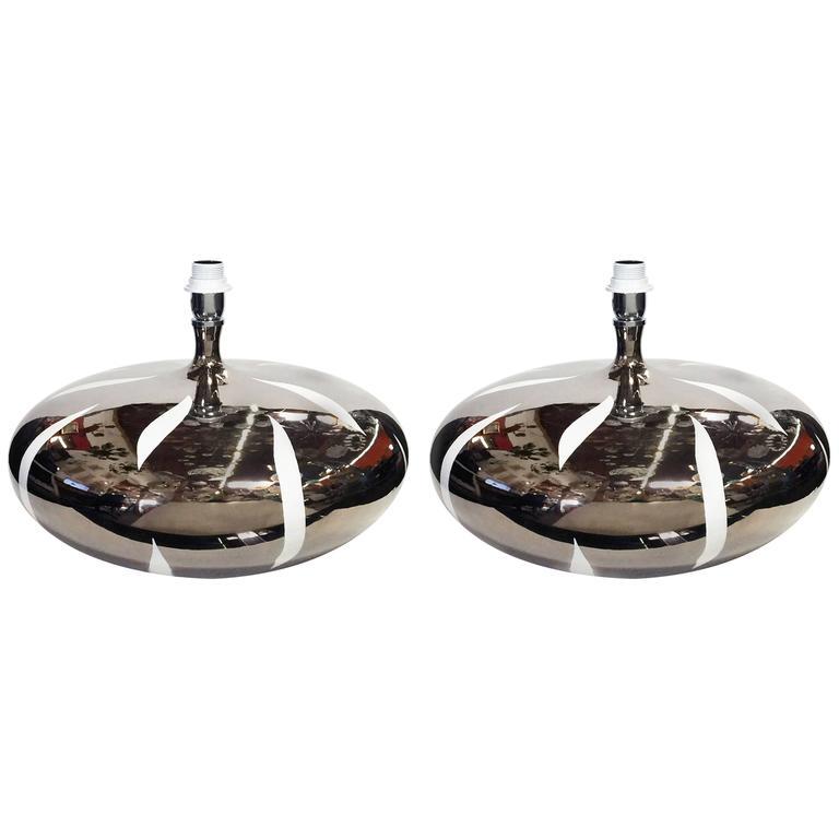 Pair of Italian Platinum Ceramic Table Lamps by Fabio Ltd