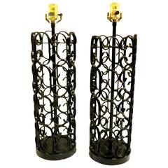 1960s Rare Pair of Iron Table Lamps by Arthur Umanoff the Grenada Collection