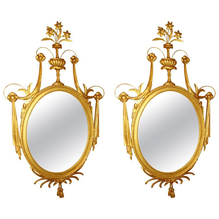 Pair of Adams Style Gilt Gold Oval Wood and Gesso Wall / Console Mirrors