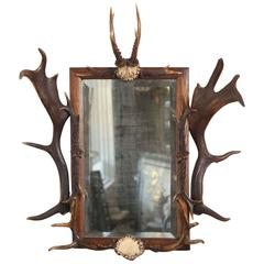 Antique Black Forest Hunt Mirror from Bodendorf Castle, Germany