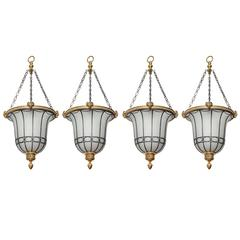 Set of Four Gilt Bronze Beaux-Arts Hanging Lanterns