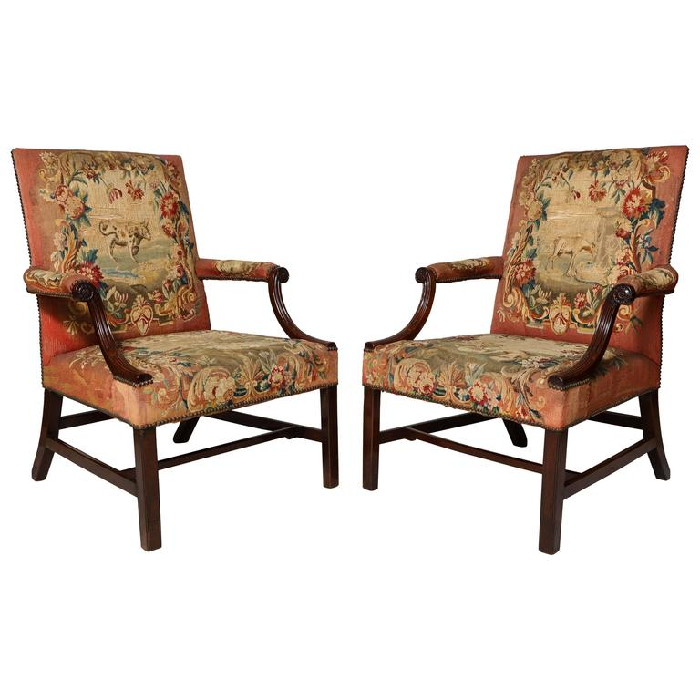 Beautiful Pair Of Georgian Gainsborough Chairs At 1stdibs