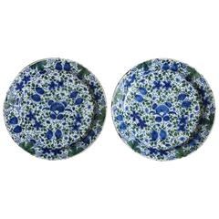 Pair of Profusely Decorated Delft Chargers