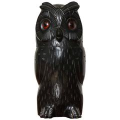 Carved Owl Tobacco Jar