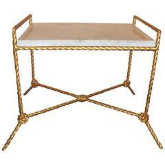 Rectangular Marble Top Seat Bench With Metal Twist Base adorning Florets