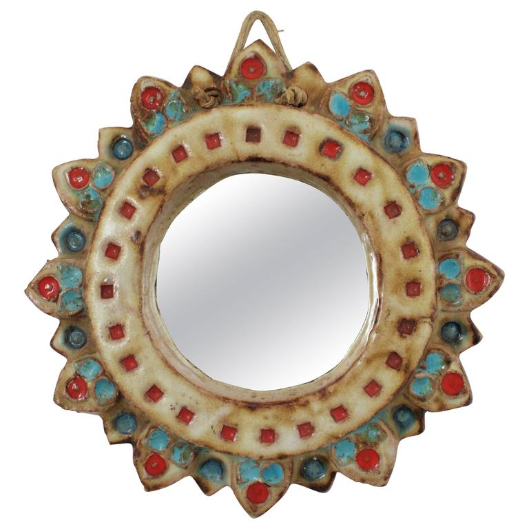 La Roue Vallauris Ceramic Sunburst Mirror in the Manner of Georges Pelletier