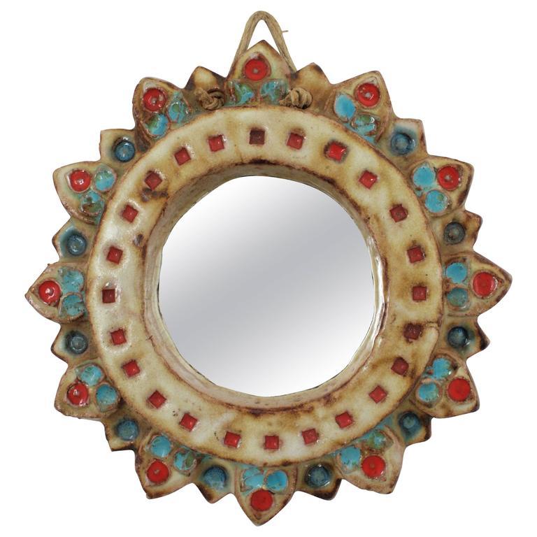 La Roue Vallauris Ceramic Sunburst Mirror in the Manner of Georges Pelletier For Sale