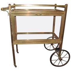 Mid-Century Modern Brass and Glass Tea Cart Serving Wagon