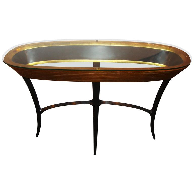 Jonathan Charles Glass Top Hollywood Regency Style Console Table