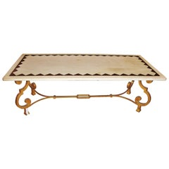 Hollywood Regency French Brass Base Coffee Cocktail Table Inlaid Marble Top