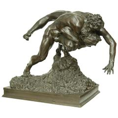 """Wrestlers"" Bronze Sculpture by Jef Lambeaux"