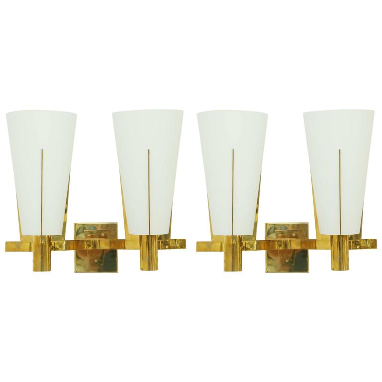 Pair of Italian Brass and Glass Sconces