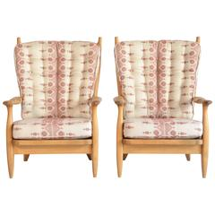 "Pair of Guillerme et Chambron ""Edouard"" Armchairs with Newly Upholstered Cushion"