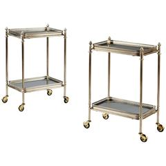 Pair of Nickel-Plated Mid-Century Modern Two-Tier Tables