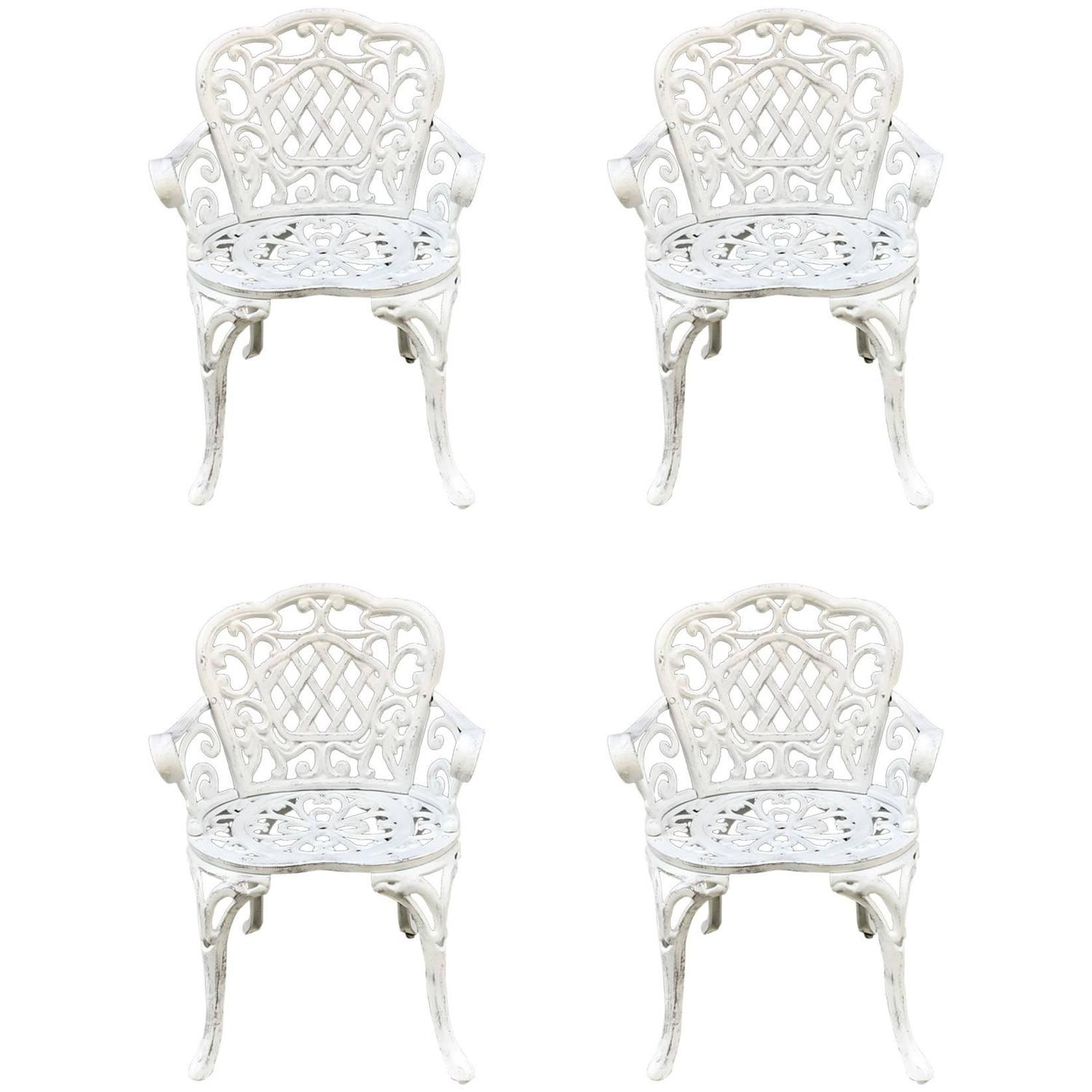 Cast Aluminum Patio Furniture Heart Pattern: Set Of Four Early Cast Iron Garden Chairs For Sale At 1stdibs