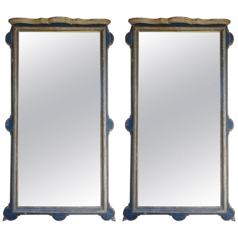 Pair of 19th Century Monumental Spanish Painted Mirrors
