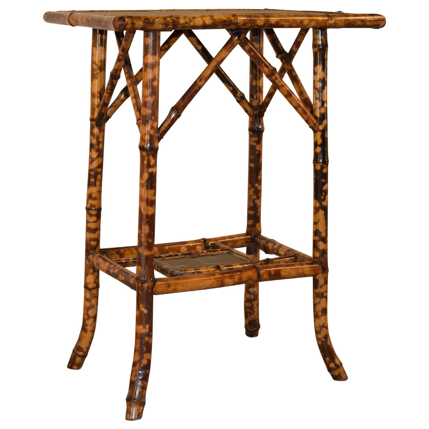 Bamboo Tortoise Coffee Table: 19th Century French Tortoise Bamboo Side Table For Sale At