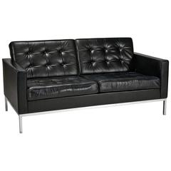 Florence Knoll Leather Settee Designed by Florence Knoll for Knoll Studio
