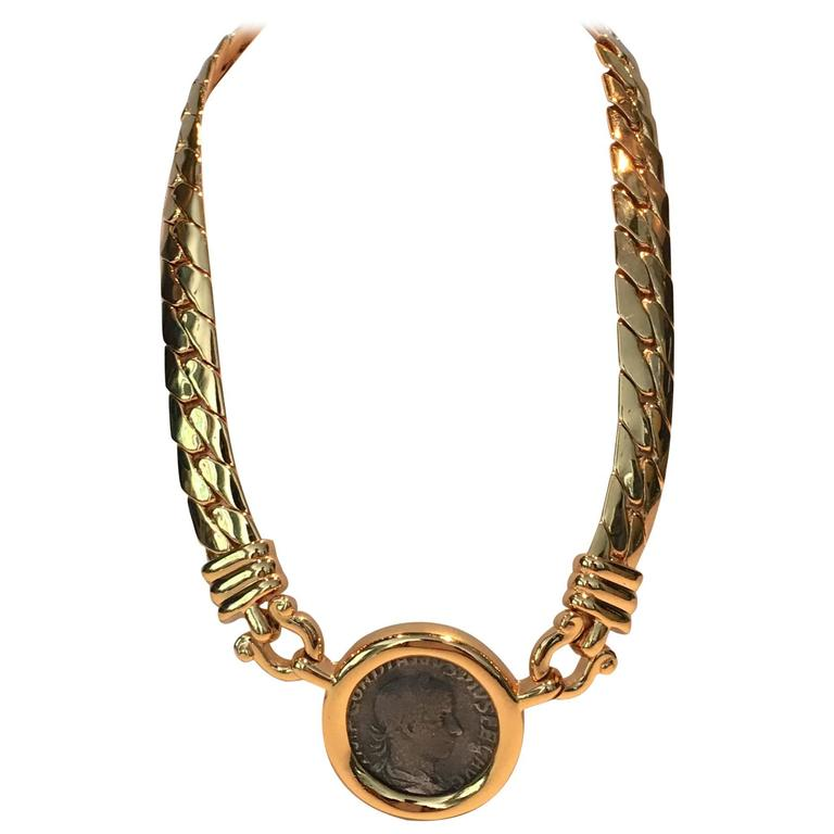 1980s gold omega ancient coin necklace by carolee at
