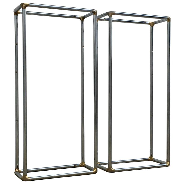Pair of Tall 1970s Chrome and Brass Shelving Units or Vitrines