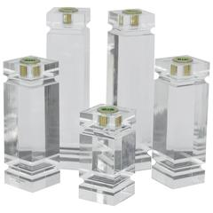 1970s Solid Lucite Candleholders