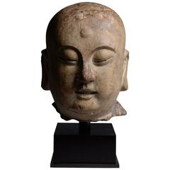 Ancient Chinese Song Dynasty Stone Head of a Lohan, 960 AD