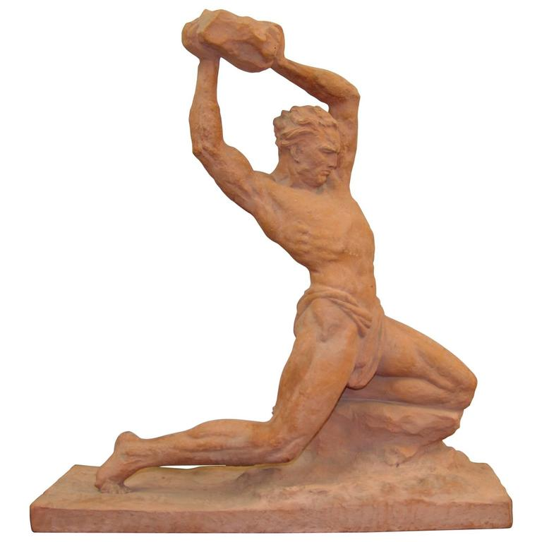 Art Deco Terracotta Sculpture by U. Cipriani