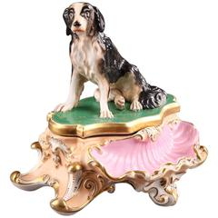 Paris Porcelain Inkstand Decorated with Sitting Dog