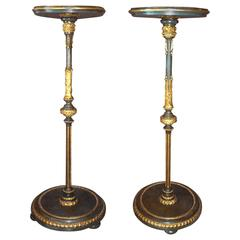 Pair of Italian Neoclassical Painted Wood and Gilt Stucco Candle Stands, 1780