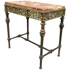 Oscar Bach Style Iron and Marble-Top Table