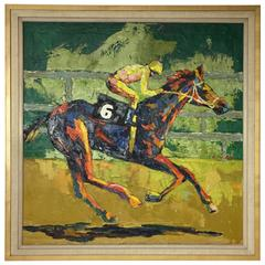 1980s Leroy Neiman Style Horse and Jockey Painting