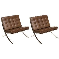 Pair of Vintage Brown Leather Barcelona Chairs