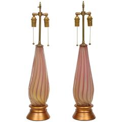 Pair of Vintage Gold-Flecked Pink Murano Glass Lamps with Gilt Bases