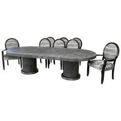 Ron Seff Shagreen Dining Table and Eight Chairs