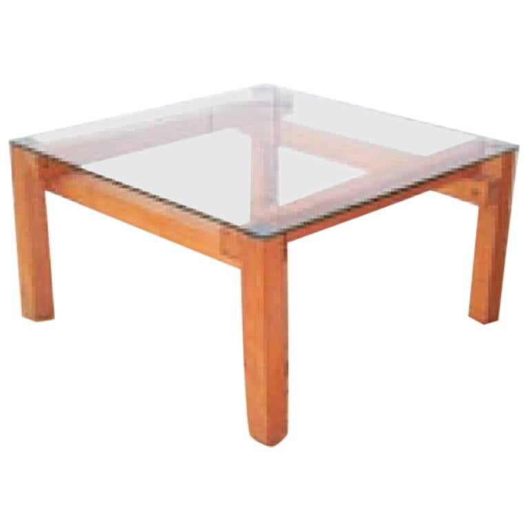 John makepeace low cocktail table in wood and glass for for Wood and glass cocktail tables