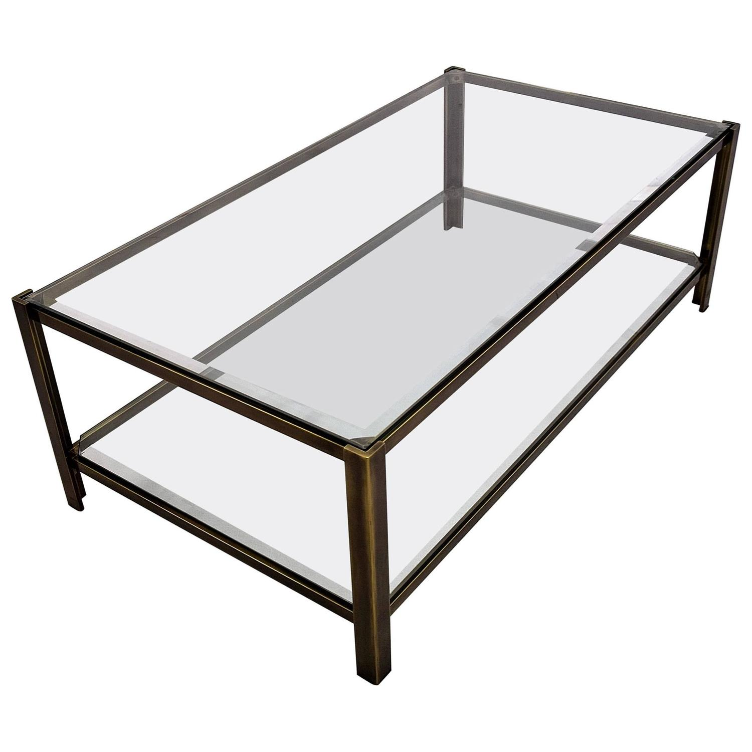 Maison Jansen Solid Brass Two-Tier Coffee Table For Sale