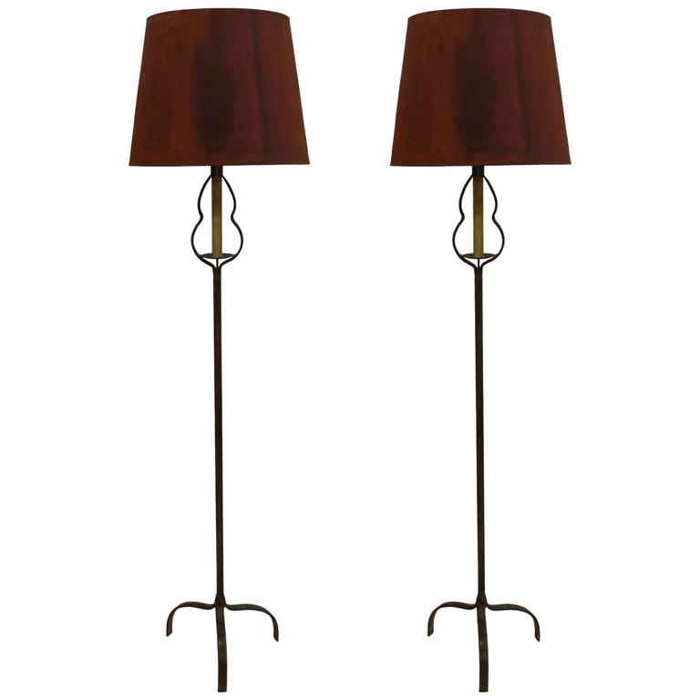 Pair of French Mid-Century Partially Gilt Wrought Iron Floor Lamps, 1940